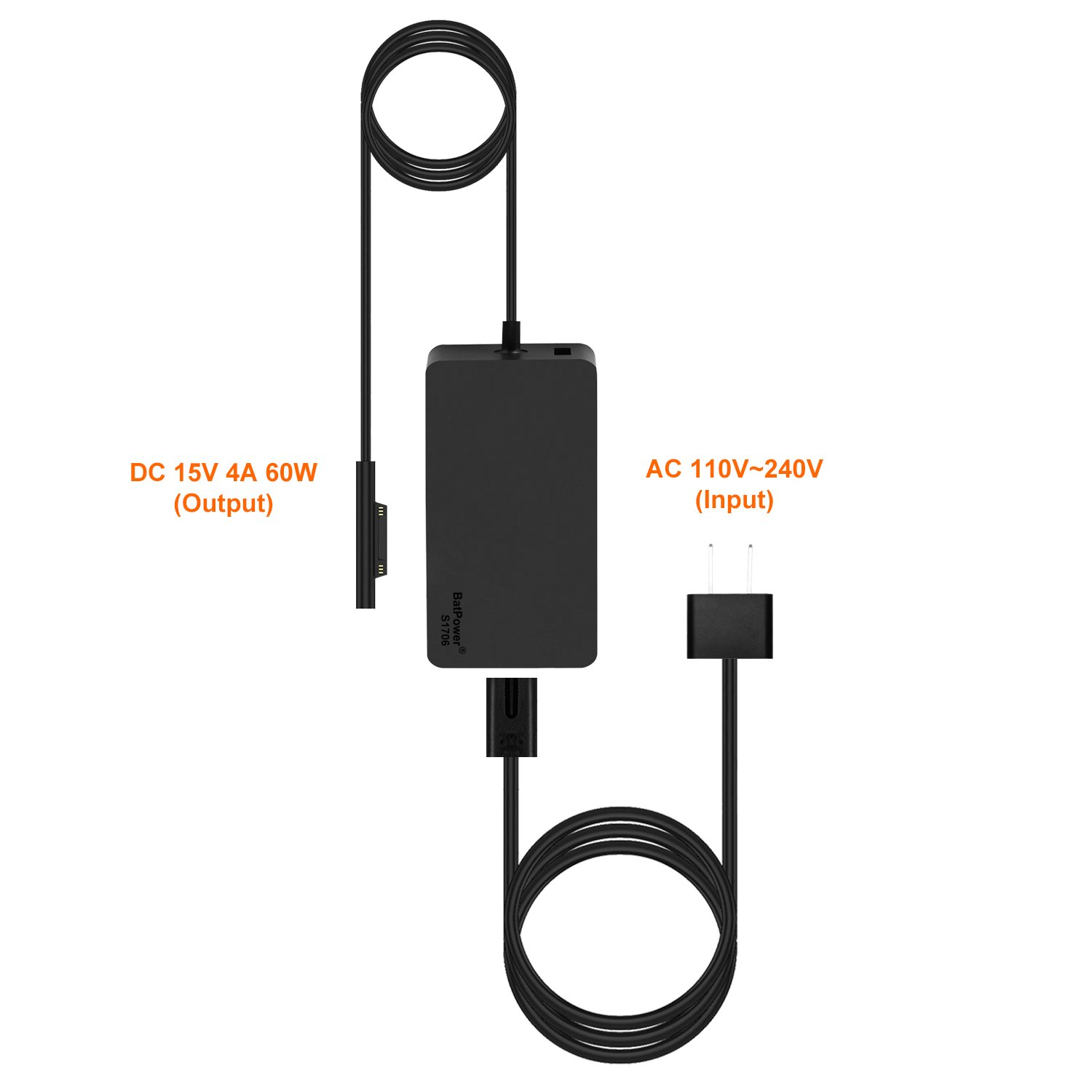 Batpower 15V 4A 65W Charger for Surface Book Surface Laptop Surface Pro 6 5 4 3 Surface Laptop Go Tablet Microsoft 1706 1800 1735 1736 Adapter Power Supply Cord with 5V USB Port US Extension Cord