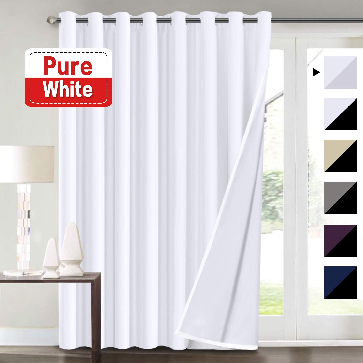 Extra Wide Blackout White Curtains 100x84 for Bedroom Blackout Curtains for Patio Door, Energy Saving Thermal Insulated Lined Curtains, Grommet Top, Pure White
