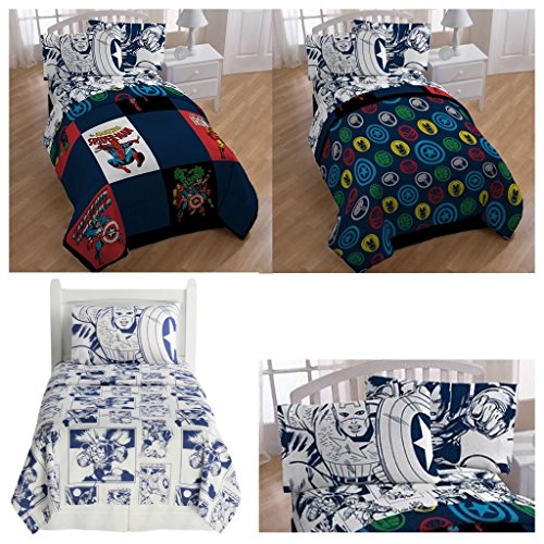 Marvel Comic Heroes 5 Piece Kids Full Bedding Set - Reversible Comforter, Sheet Set with 2 Reversible Pillowcases