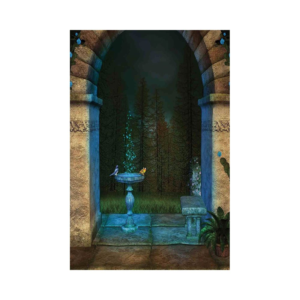 Polyester Garden Flag Outdoor Flag House Flag Banner,Gothic,Forest Landscape from Ancient Archway Birds on Fountain Fairytale Illustration,Blue Grey Green,for Wedding Anniversary Home Outdoor Garden D