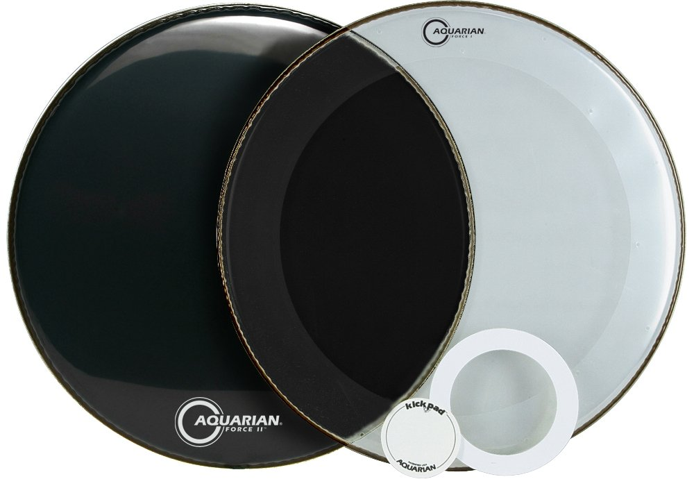Aquarian FFP22BK Drumheads Full Force Packs 22-Inch Bass Drum Head, Gloss Black