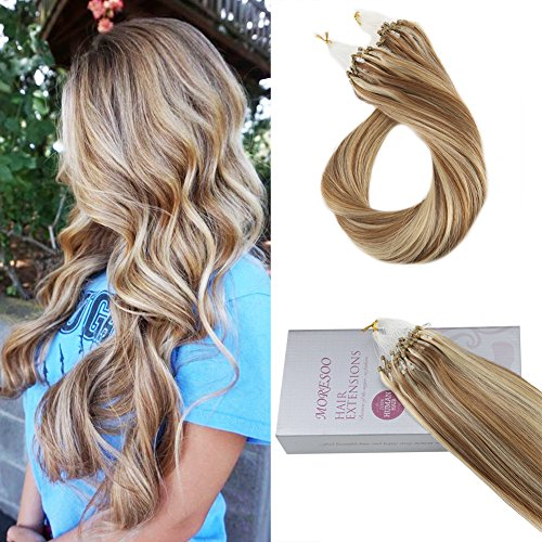 Moresoo 14 Inch Micro Loop Human Hair Extensions 50g 1g/s Micro Loop Brazilian Remy Hair Extensions 1g/s Medium Ash Brown #8 Highlights with Bleach Blonde #613 Straight Hair Extensions