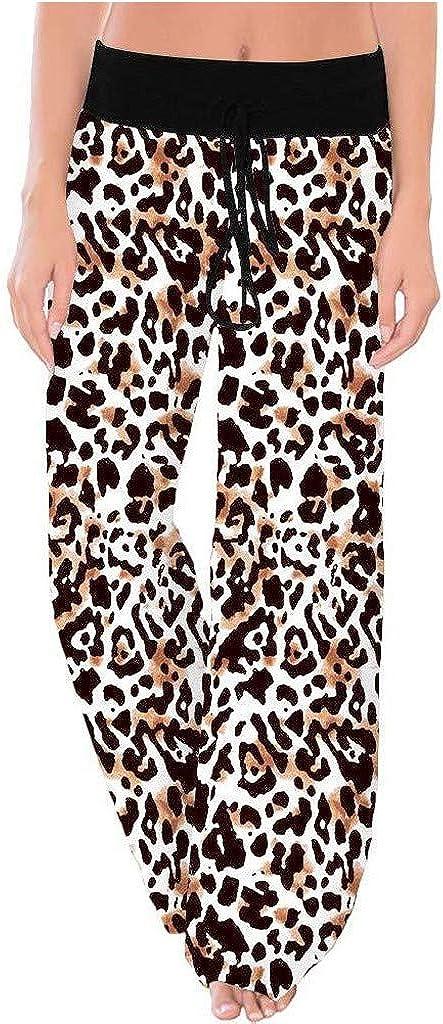 Pantalones Mujer Tallas Grandes Anchos,Pantalones Chandal Mujer,Pantalones CóModos De Pierna Ancha con CordóN EláStico Y Estampado De Leopardo para Mujer