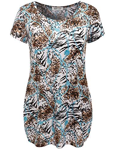 Aphratti Women's Crew Neck Short Sleeve Casual Summer Tunic Top Blue/Leopard Medium