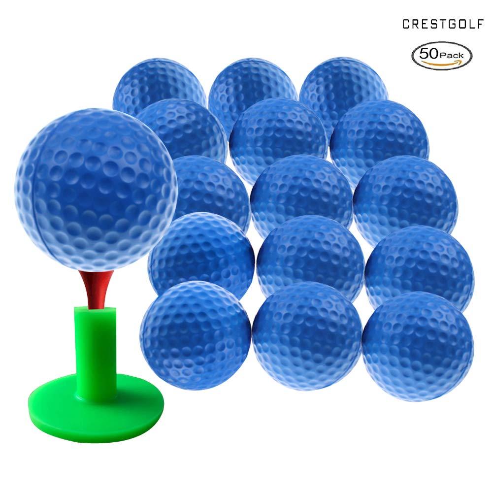 Crestgolf Foam Sponge Practice Golf Ball Soft Balls for Cats Kids 12/50 pcs per Bag (Blue 50pcs) by Crestgolf