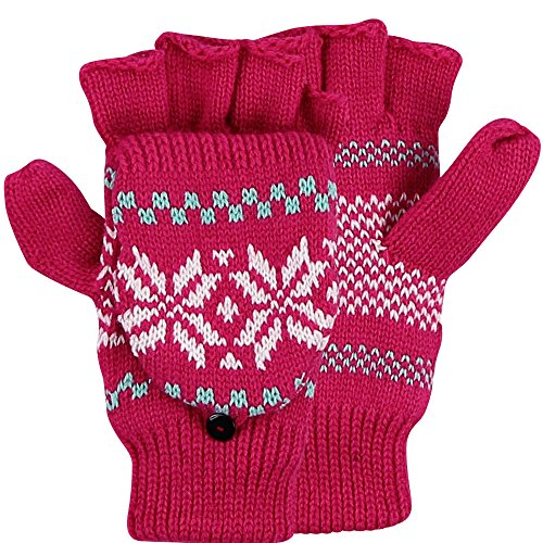 Womens Snowflake Convertible Gloves - Women's Snowflake Pattern Convertible Mitten/ Glove (Pink)