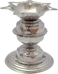 GD Stainless Steel Diyas for Pooja - Deepak for Puja Aarti - Oil Lamp - Pooja Articles Home Decor Item Showpieces - House Warming Decoration Aarti Puja at Hindu Temple Mandir, Religious Diwali Gifts