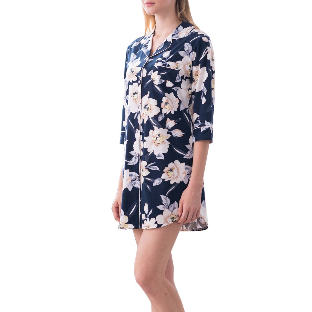 ENJOYNIGHT Women's Sleep Shirt 3/4 Sleeves Pajama Top Button-Front Nightshirt (US (8,10)=Tag L, Floral)