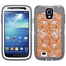 Skin Decal for Otterbox Defender Samsung Galaxy S4 Case - Beautiful Orange Lace on White
