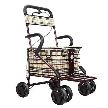 Zhangmin Plegable Viejo Carro De Compras, Aleación De Aluminio Empuje De Cuatro Ruedas Puede Sentarse Conveniente Muletas Andador para Los Ancianos para ...