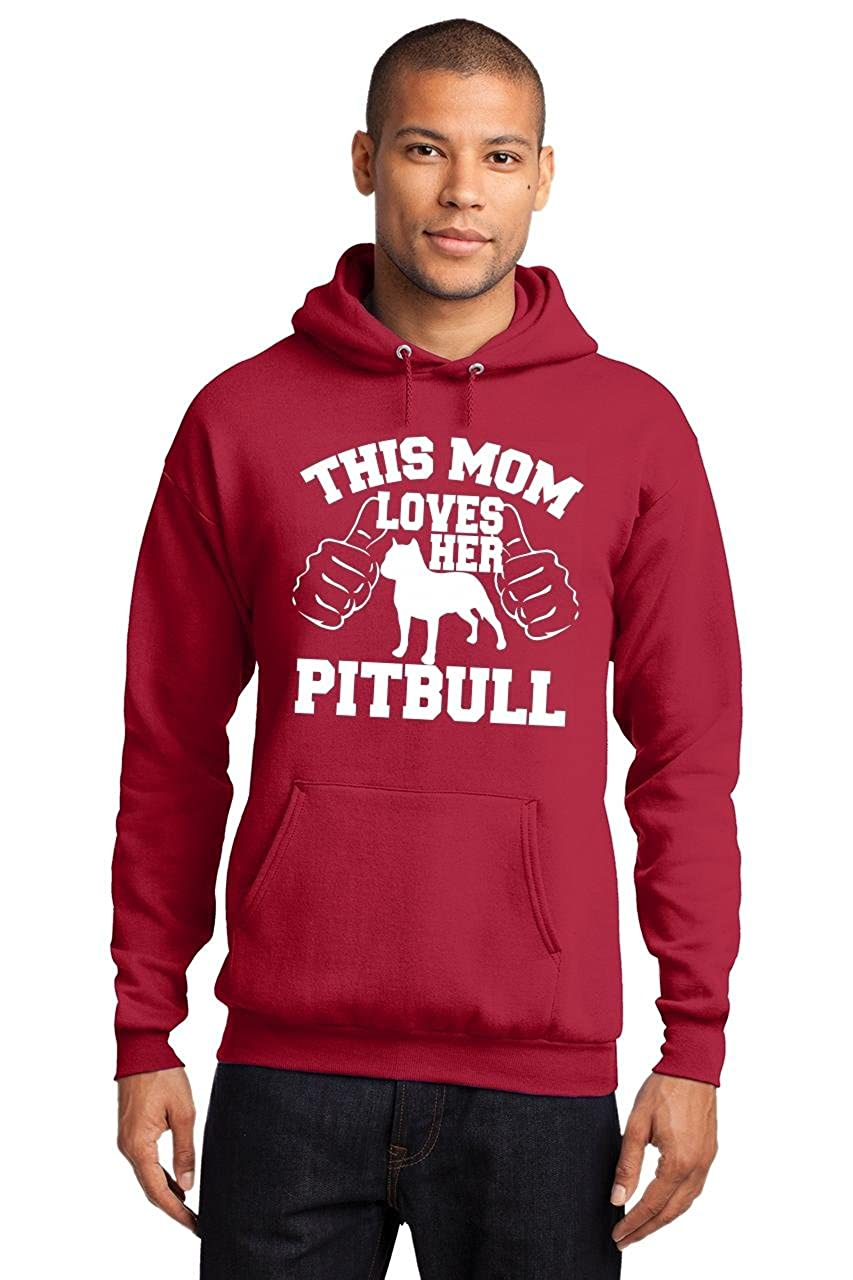 Comical Shirt Mens This Mom Loves Her Pitbull Hoodie