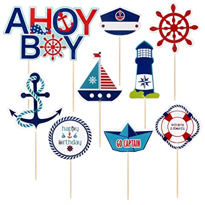 Ahoy boy Cupcake Toppers,Nautical Party/Boy Birthday Party Decoration Supplies,Set of 9: Toys & Games