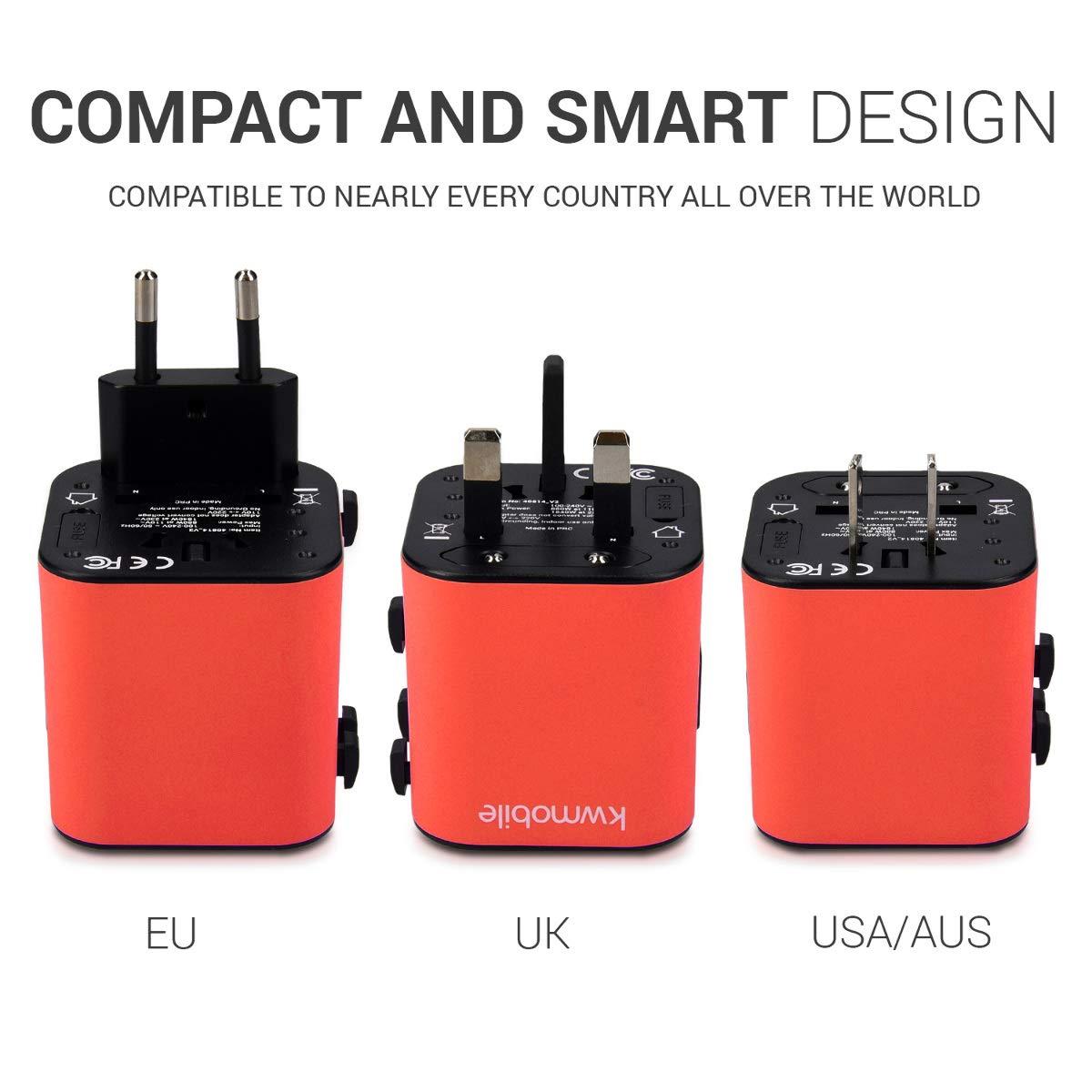 Jap/ón para USA Canad/á etc Rojo China kwmobile Adaptador de Viajes Universal /¡La Toma necesaria a la Mano!