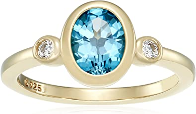 Oval Blue Topaz Gemstone Gold Plated Sterling Silver Ring for Women size 6