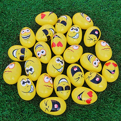 Easter Candy Container - Emoji Easter Eggs for Kids, Easter Basket Stuffers Fillers Egg Containers for Easter Party Favors, Filling Treats, Easter Eggs Hunt, Easter Gifts, Classroom Prize Supplies, 24 Pieces