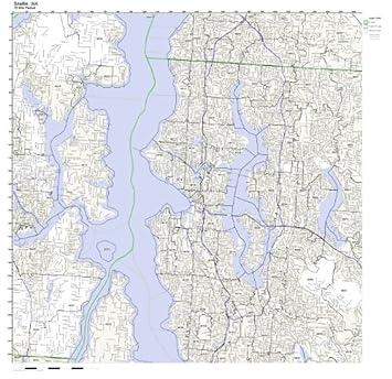 Amazoncom Seattle WA ZIP Code Map Laminated Home  Kitchen