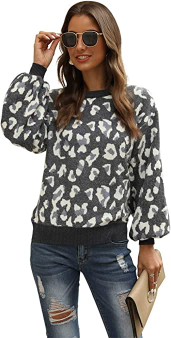 Hirate Women Knit Sweater Puff Long Sleeve Sweater Crewneck Cardigan Loose fit Pullover Leopard Sweater
