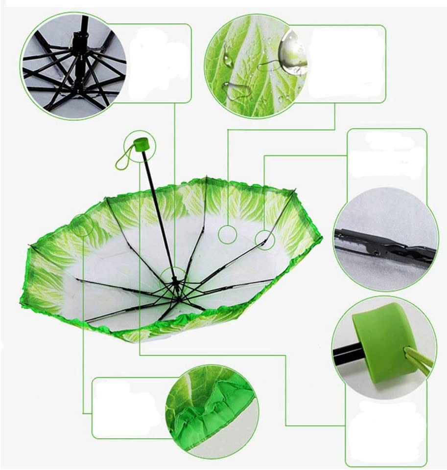 ZhiGe Foldable Umbrella,Creative Umbrella Fashion Fresh Simulation Cabbage Lettuce Umbrella Fruits and Vegetables Children Umbrellas