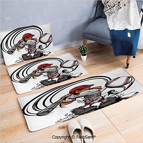- 3 Piece Flannel Doormat Baseball Cartoon Player Hitting The Ball Boys Kids Caricature Print for Kitchen Rugs Carpet(W15.7xL23.6 by W19.6xL31.5 by W31.4xL47.2)