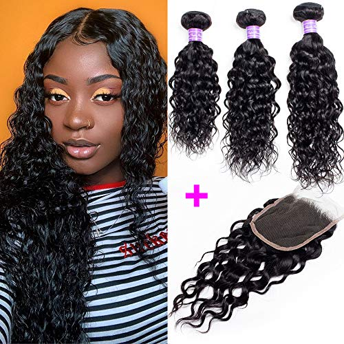 Water Wave Bundles With Closure Natural Color Brazilian Hair 3 Bundles With 4x4 Lace Closure 100% Unprocessed Virgin Human Hair Bundle Deals 8a Grade YIDA Hair (10 12 14 with 10 Free)