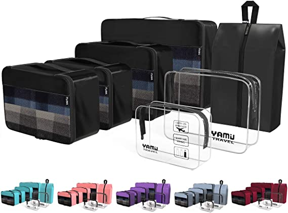 YAMIU Packing Cubes 7-Pcs Travel Organizer Accessories with Shoe Bag and 2 Toiletry Bags(Black) best packing cubes