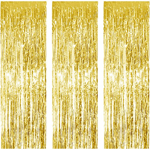 JVIGUE 3 Pack Foil Curtains Metallic Foil Fringe Curtain for Birthday Party Photo Backdrop Wedding Event Decor (Gold)]()