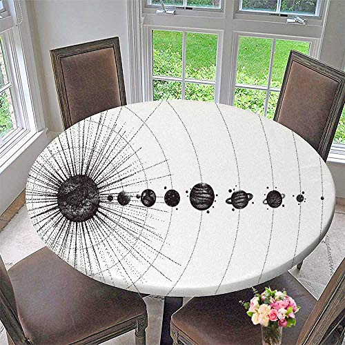 Chateau Easy-Care Cloth Tablecloth Solar System in dotwork Style Planets in Orbit Vintage Drawn for Home, Party, Wedding 59