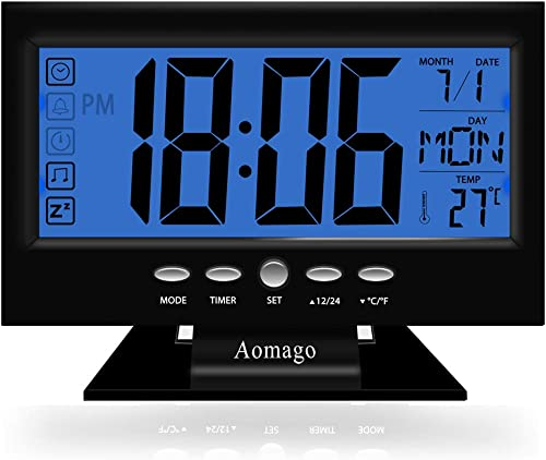 Aomago Digital Desk Clock Battery Operated with 5.7 Large display for Bedrooms, Battery Clock Large Display with Temperature Backlight Snooze-Easy to Use for Kids, Teens, Seniors
