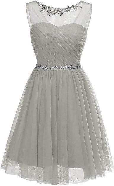 CLLA dress damska sukienka wieczorowa z okrągłym dekoltem, krÓtka sukienka ślubna dla druhny przezroczysta tiulowa: Odzież