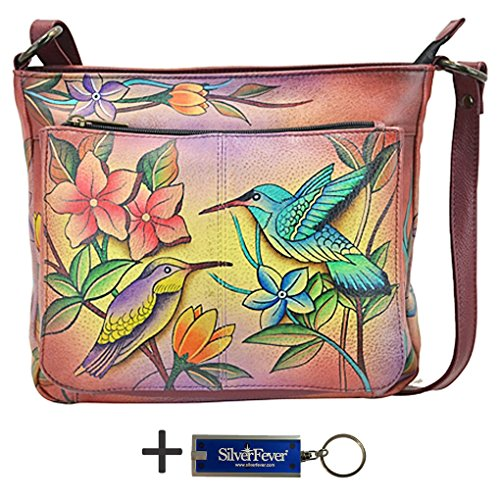 Anna by Anuschka Cross Body Handbag & Key Chain (Medium-2 Birds in Paradise)