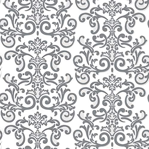 Dining Collection Decorative Pattern Paper Lunch Napkins - Silver Damask, 20 Count, 6.5 inch
