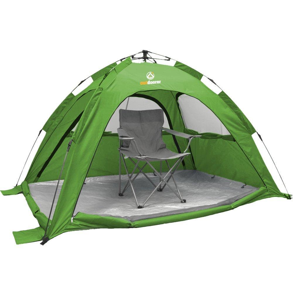 Automatische Strandmuschel mit UV80 UV-Schutz - SunSnapper grün von outdoorer - 3 Fenster und 4 Türen sind bei dieser Strandmuschel verschließbar, ideale Belüftung und Insektenschutz