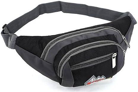 Walking or Travel. Black Fanny Pack Bumbag for Hiking Sports Waist Bag