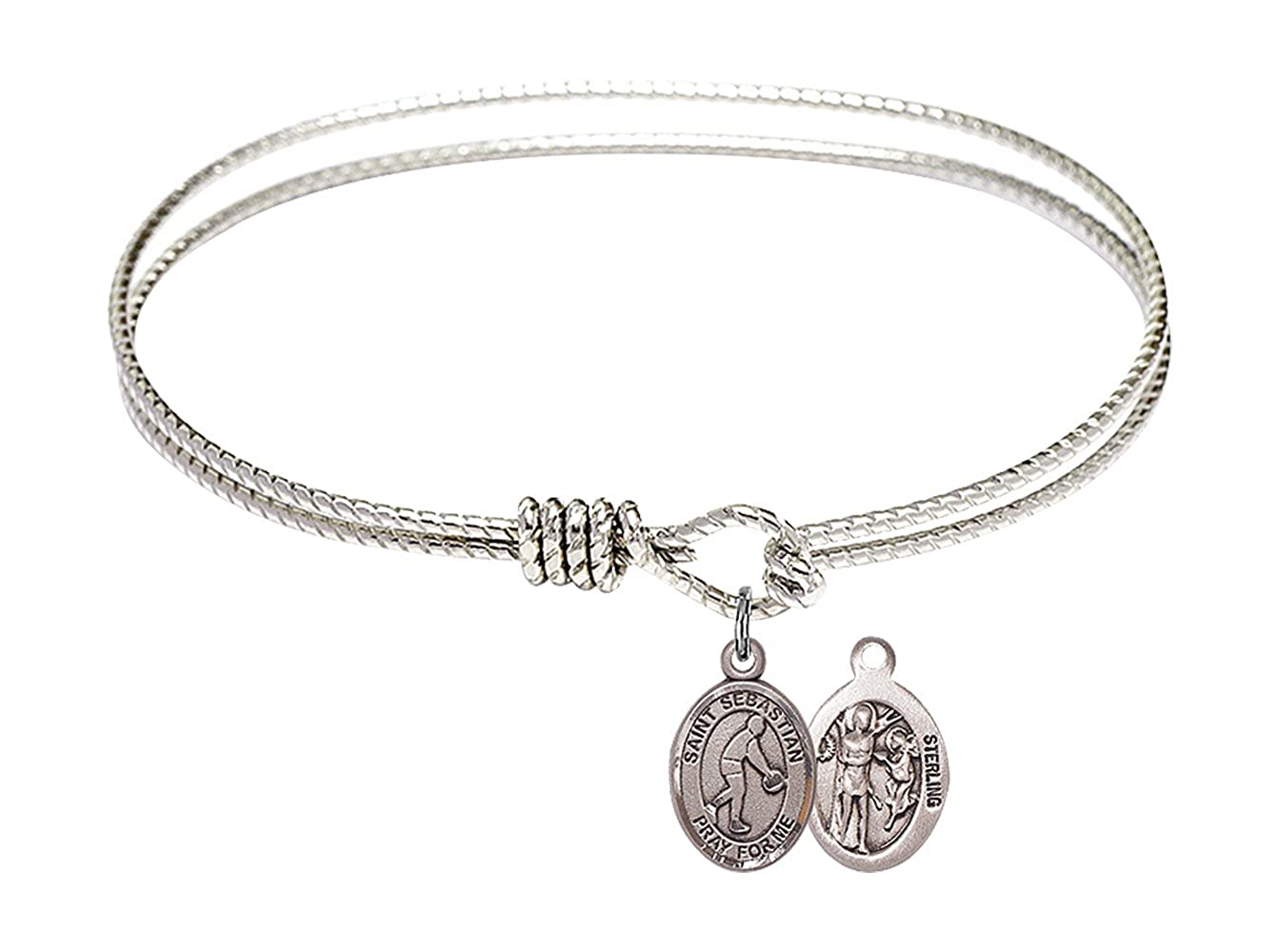 St Sebastian Basketball Charm On A 7 1//4 Inch Oval Eye Hook Bangle Bracelet