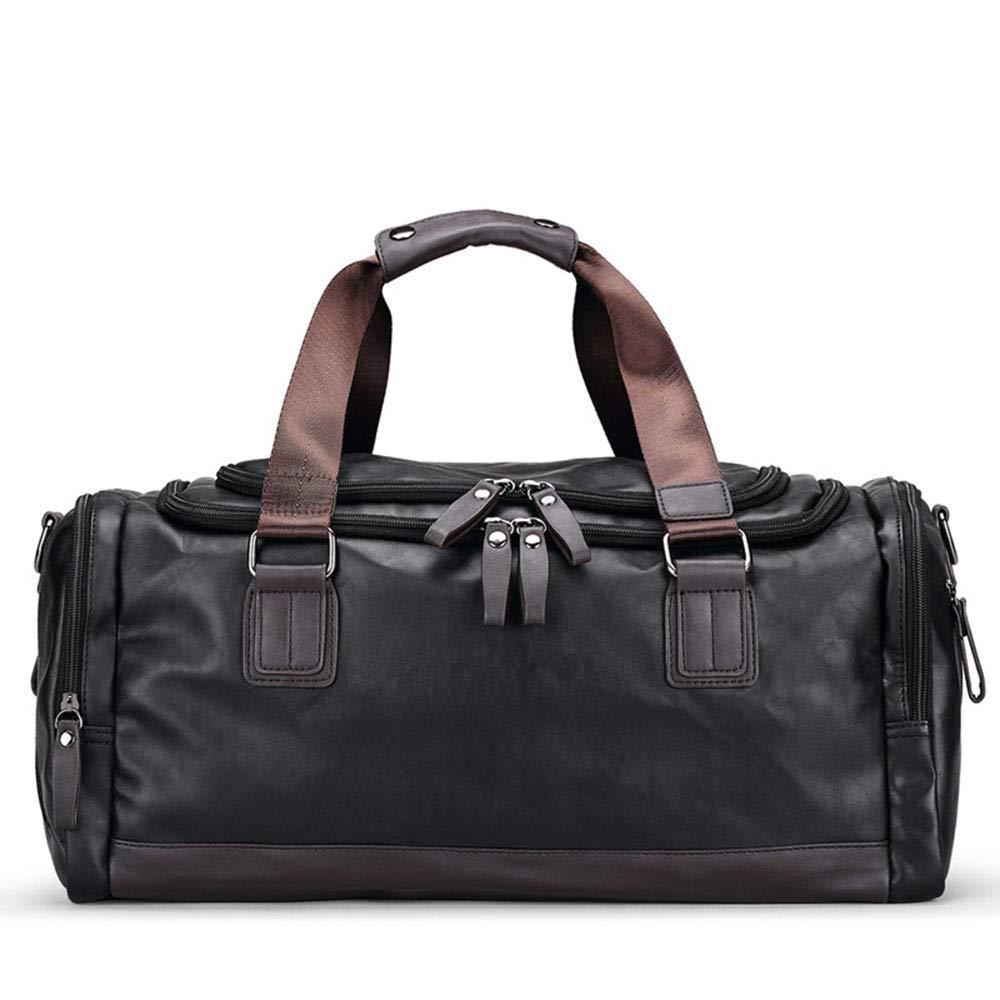旅行バッグ スタイリッシュなシンプルさ男性ハンドバッグ旅行カジュアルショルダーメッセンジャー荷物バッグ旅行一晩 スポーツバッグ トラベルバッグ (色 : ブラック) B07P6XB7SV ブラック
