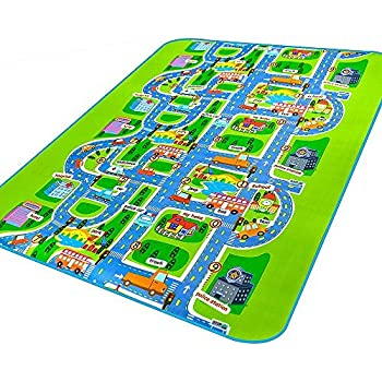 MATE Kids Carpet Rug Mat ,City Life Play Carpet City Map Carpet Car Rug  Learning Carpets For Boy And Girls,63x51.20 Inch
