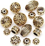 Darice 40-Piece Metal Spacer Beads, Assorted Shapes, Antique Gold