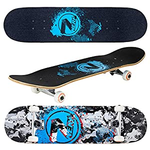 """Flybar 31"""" x 8"""" Complete Beginner Skateboards 7 Ply Maple Wood Board Pre Built - 7 Designs Available (Grey Camo)"""