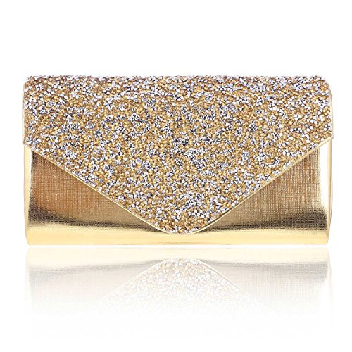 Damara Womens Metalic Diamond Scatter Flap Meduim Evening Bag,Gold Metalic Snaps