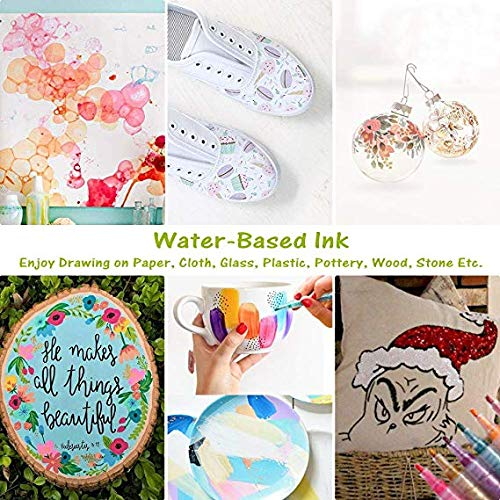 Glass Art Rock Painting DIY Photo Album AOVITY Acrylic Paint Marker Pens Card Making 12 Color Glitter Paint Pens for Kids Round Tip Graphic Drawing Pen for Scrapbooking Crafts Fast Dry
