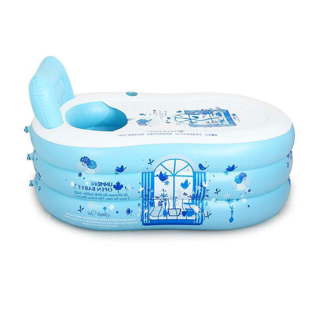 LXJYMX Dicker Eltern Pool Aufblasbare Wanne Saunakübel Faltbare Kunststoff Badewanne Wanne gießen Pumpe - Tragbare Badewanne (Farbe   Ölau, größe   150  85  50cm)