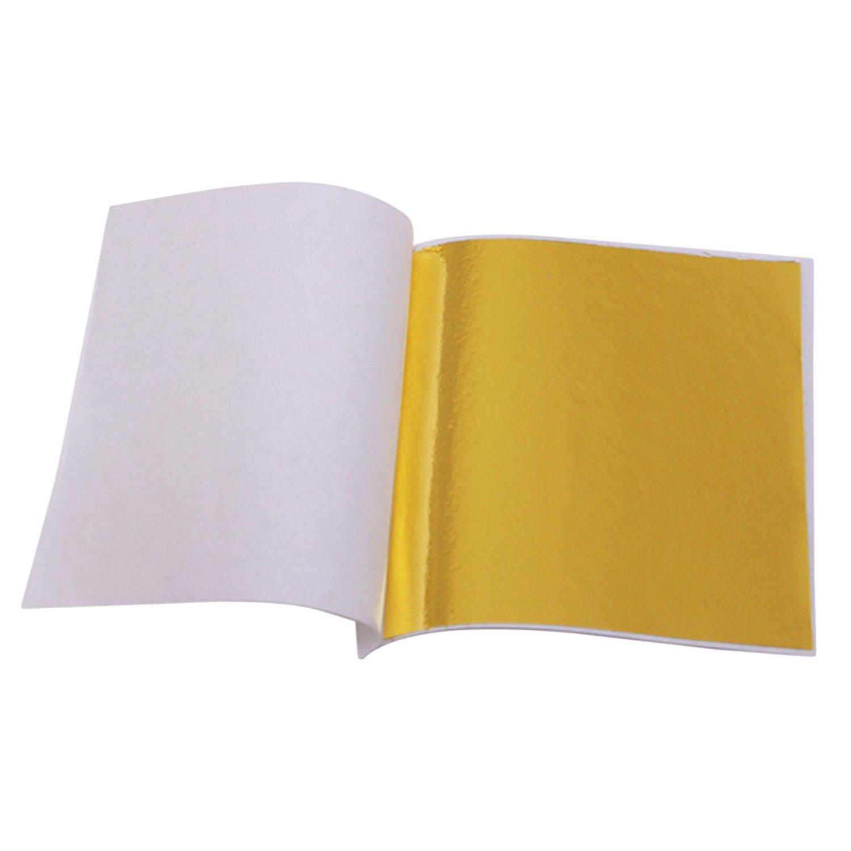 Beetest 100 Sheets Imitation Gold Leaf Foil for Arts Gilding Slime Crafting Decoration 9 x 9cm Gold