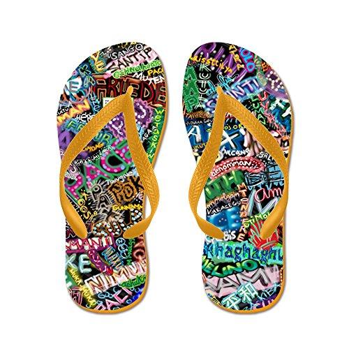 Cafepress Graffiti_peace_international - Flip Flops, Grappige String Sandalen, Strand Sandalen Oranje