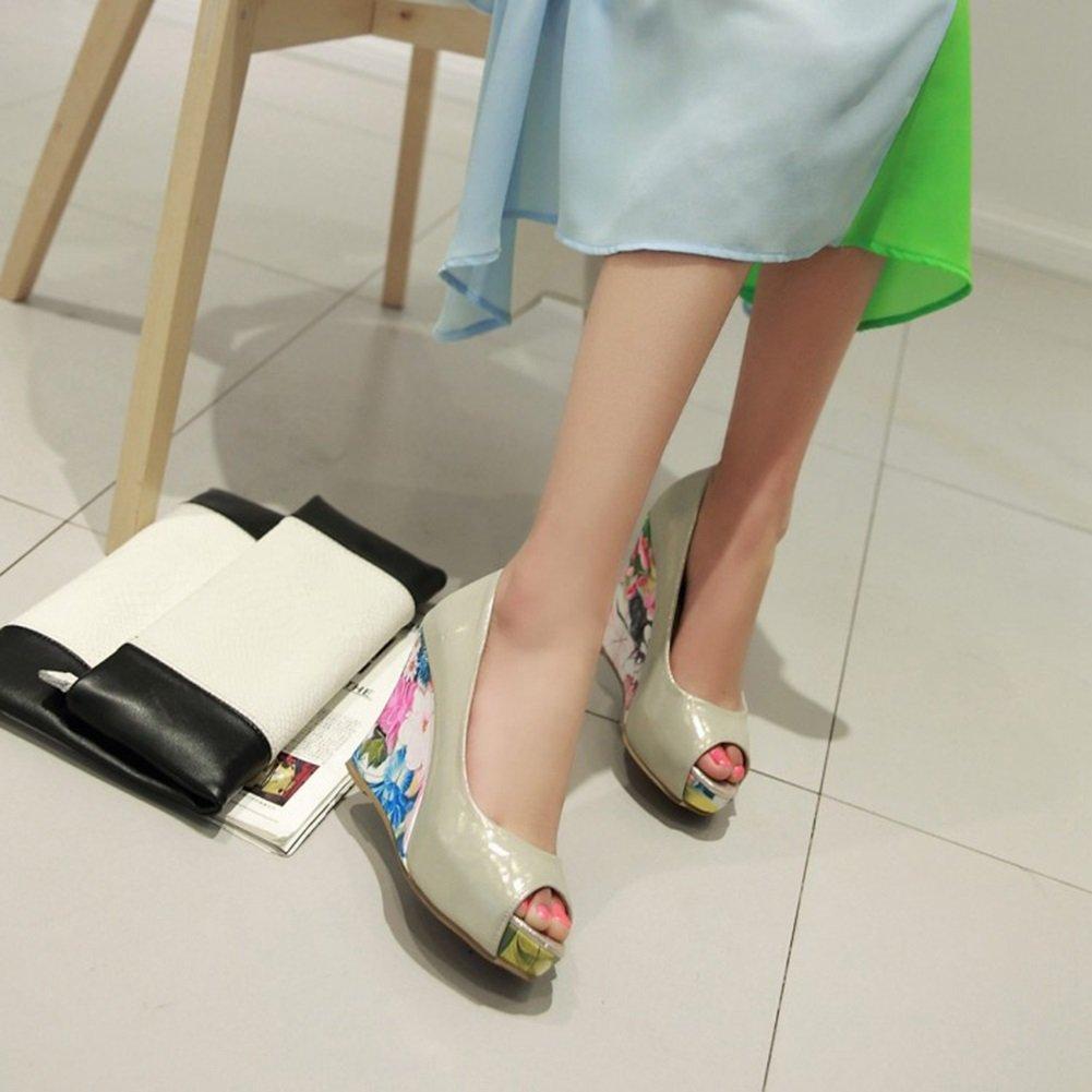 CAI Schuhe Damen Schuhe CAI PU Sommer Heels Keilabsatz Peep Toe Damenschuhe Fisch Mund Weiß, Gold, Rosa Damen Slope Heel Hochzeit Schuhe Brautjungfer Schuhe Arbeitsschuhe Sandale (Farbe   Rosa, Größe   37) 4afb4c