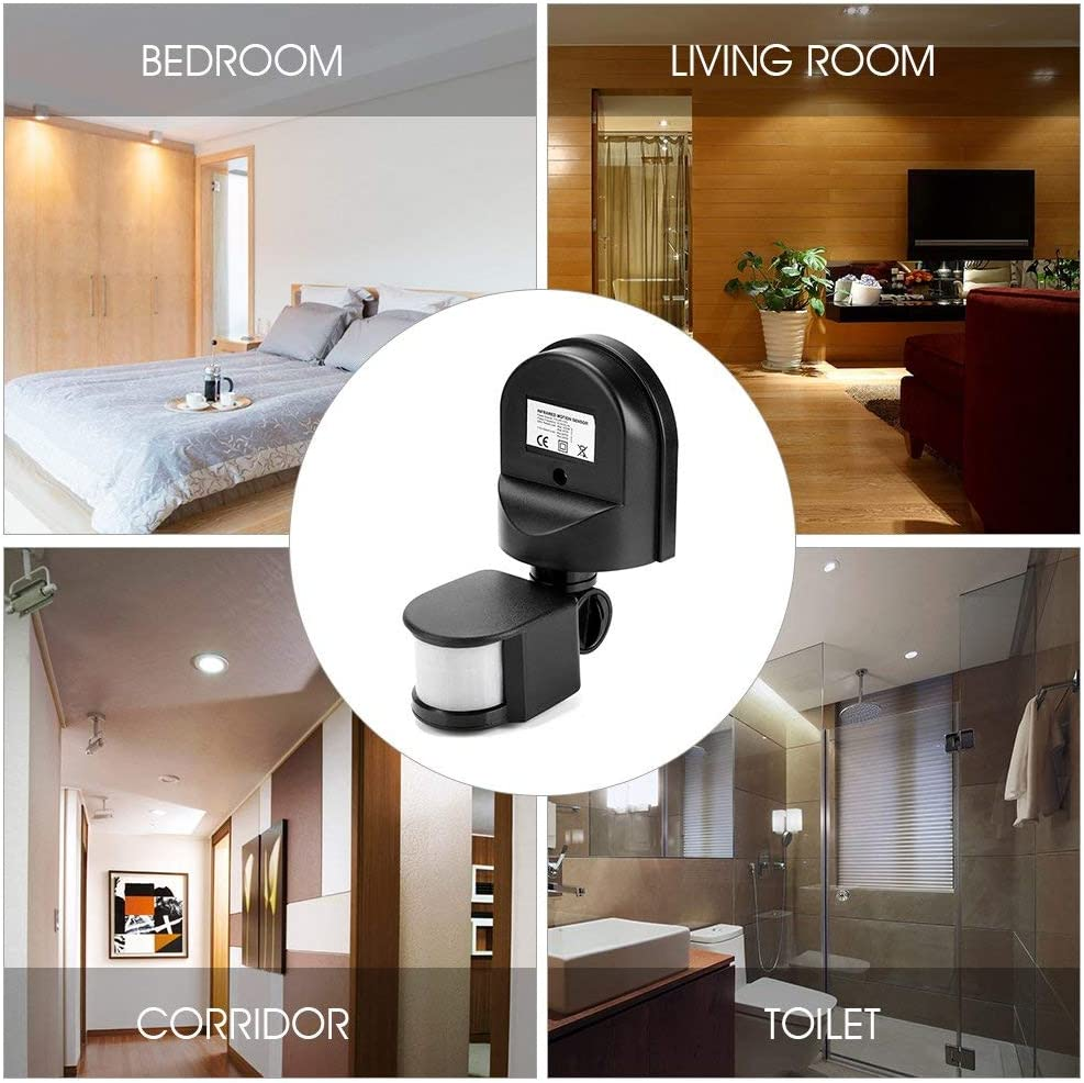 110 V-240 V ajustable PIR sensor de movimiento infrarrojo sensor de luz interruptor para interior y exterior