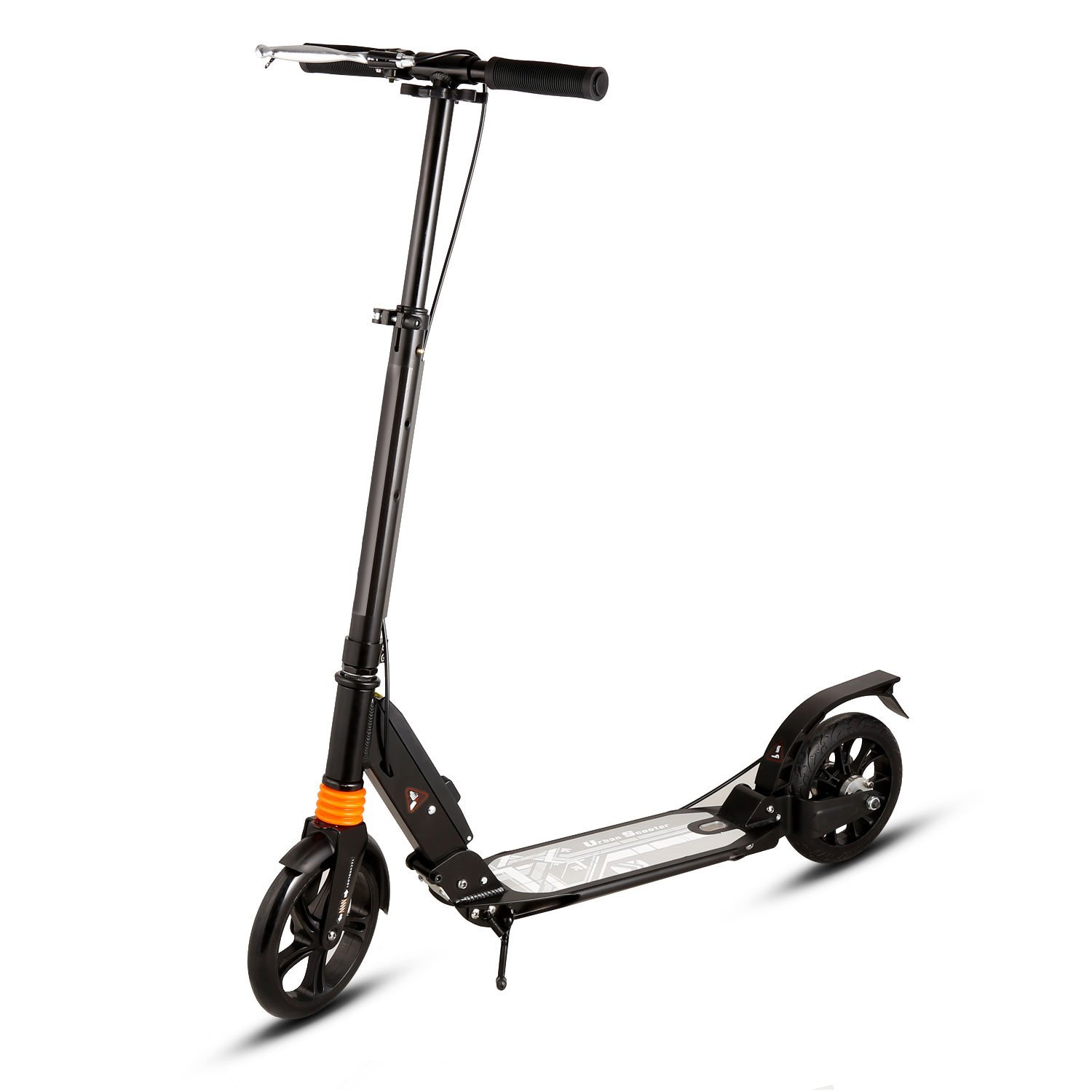 WeSkate A4 Adult Scooter Dual Suspension, Single Button Folding System, Adjustable Height Handle Bar, Lightweight kick scooter with Front and Disc brakes and 200mm big Wheels, 220 lbs Weight Capacity