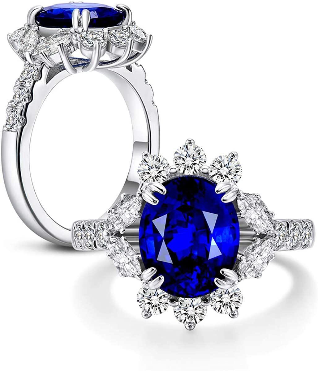 AINUOSHI 4ct Oval Cut Created Blue Sapphire Cubic Zirconia Rhodium Plated Wedding Engagement Ring 925 Sterling Silver