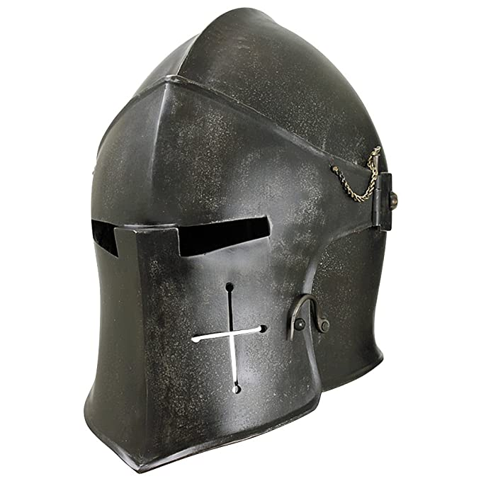 Armor Venue - Epic Dark Visored Barbuta Helmet Armour