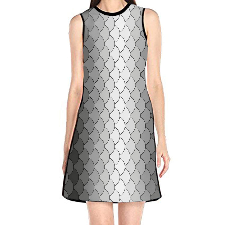aportt Shift Dress Sleeveless Tank Dresses Black Pattern Printed Beach Suit Women