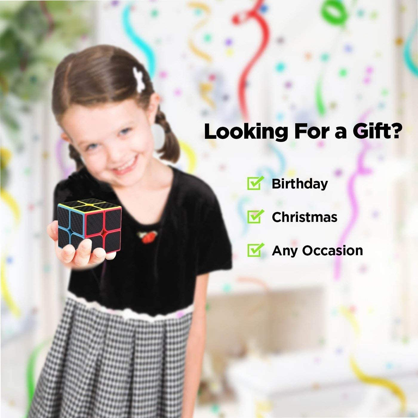 Jeu de Cubes de Vitesse Paquet de 5 2x2x2 3x3x3 Megaminx Skym Pyramid Cube en Fibre de Carbone Sticker Magic Cubes Collection Puzzle Box ROXENDA Speed Cubes,